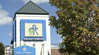 Dayton Children's Hospital sign at entrance 4k