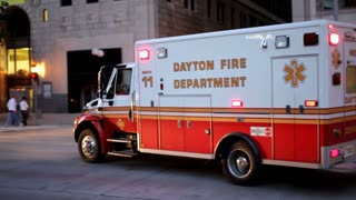 Dayton Fire Department Ambulance in City