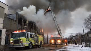 Dayton Ohio fire department putting out blaze at warehouse 4k