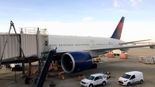 Delta Airlines plane waiting at terminal in Atlanta Georgia 4k