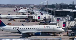 Delta airplanes at Minnesota airport Terminal C 4k