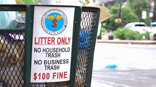 Department of Sanitation notice on trash can in New York 4k