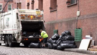 Department of Sanitation NYC collecting trash bags 4k