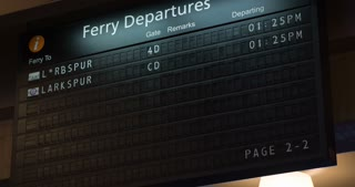 Departure board rotating schedule at Port of San Francisco 4k