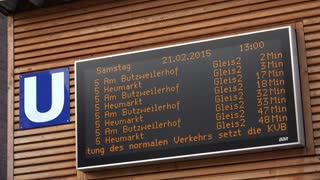 Departure signs for U Bahn in Cologne Germany 4k