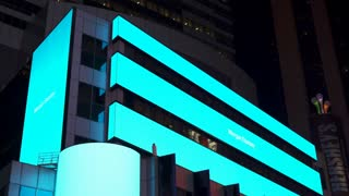 Digital stock ticker in downtown Times Square by Morgan Stanley 4k