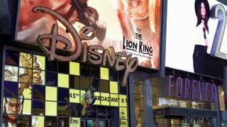 Disney store in Times Square New York City 4k