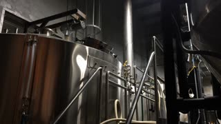 Distillery equipment at beer brewing facility