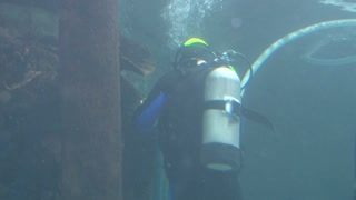 Diver Working on Plastic Line
