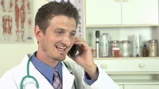 Doctor giving good news over the phone