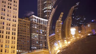 Downtown Chicago reflected in Bean at night 4k