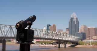 Downtown Cincinnati seen from across river at looking glass 4k