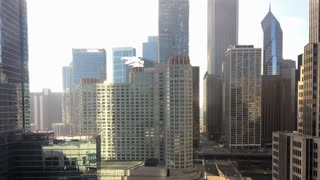 Downtown City of Chicago time lapse with traffic and buildings 4k
