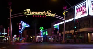 Downtown Fremont District in Las Vegas 4k