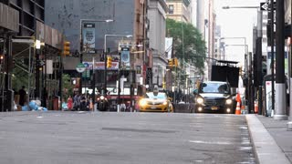 Downtown New York City streets establishing shot 4k