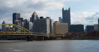 Downtown Pittsburgh Establishing shot 4k