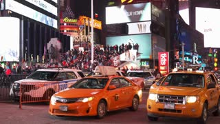 Downtown Times Square New York City Traffic 4k