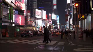 Downtown traffic going through Times Square 4k