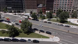 Downtown Washington DC street traffic establishing shot 4k