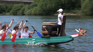 Dragon boat row races in Offenbach Germany 4k