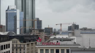 Dreary day in downtown Frankfurt Germany 4k