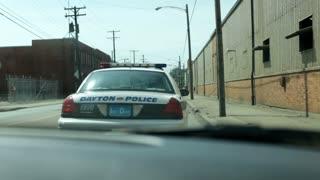 Driving behind Dayton P olice car
