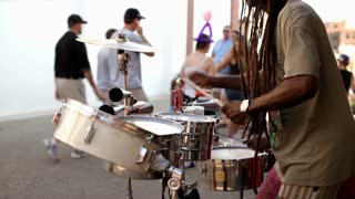 Drums being played by street performer