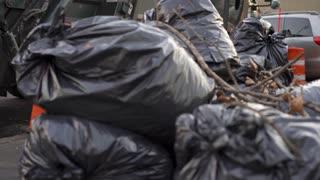 Dump truck in New York City on trash day 4k
