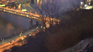 Duquesne Incline cable car arriving at station in Pittsburgh 4k