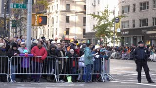 Eager parade watcher waiting for 89th Annual Macys Parade 4k