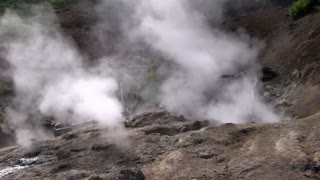 Earth smoking from hot spring in Yellowstone