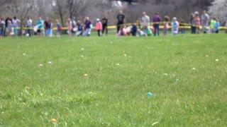 Easter eggs in grass of field during egg hunt 4k