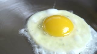 Egg cooking in skillet close up