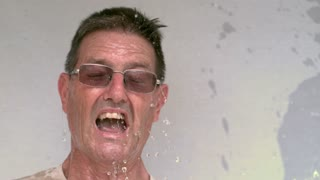 Elderly man splashed in face with water pt 2