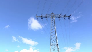 Electrical lines with clouds time lapse 4k