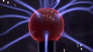 Electricity radiating from plasma ball source 4k