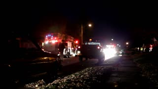 Emergency crews at night time Accident Scene