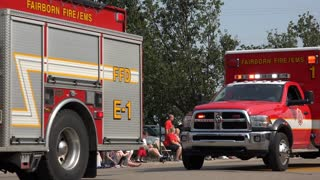 Emergency Vehicles in 4th of July parade 4k