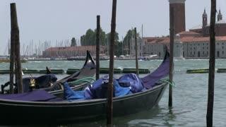 Empty Gondola floating in water
