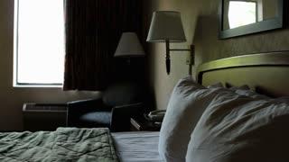 Empty hotel room pan shot