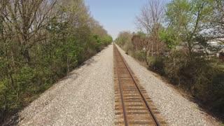 Empty railroad tracks aerial view
