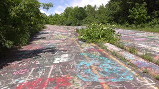 Empty streets in abandoned town of Centralia Pennsylvania 4k