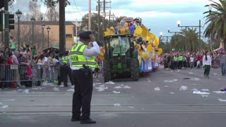 Endymion parade float approaching police officer