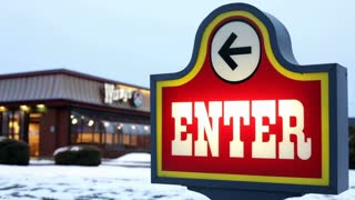 Enter sign to Wendy's restaurant