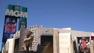 Entrance to MGM Casino with Giant Gold Lion Statue 4k