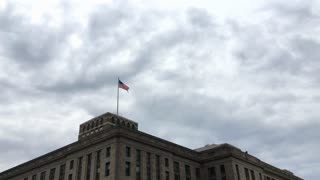 Establishing Shot Of American Flag On Building In Dc 4 K