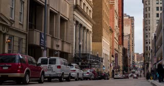 Establishing shot of back street in downtown Pittsburgh 4k