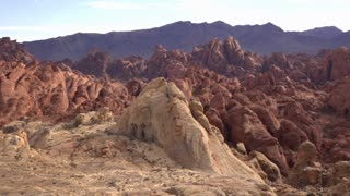 Establishing shot of beautiful red rocks in Valley of Fire State Park 4k