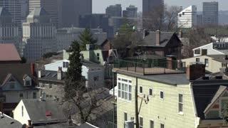 Establishing shot of buildings in downtown Cincinnati