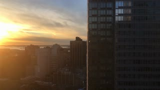 Establishing Shot Of New York Building During Sunset 4 K